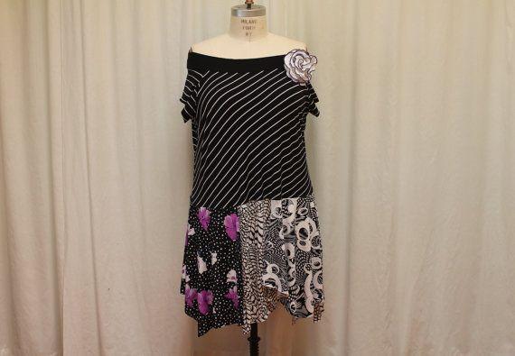 Upcycled Plus size dress summer fashion bohemian women by MilaLem