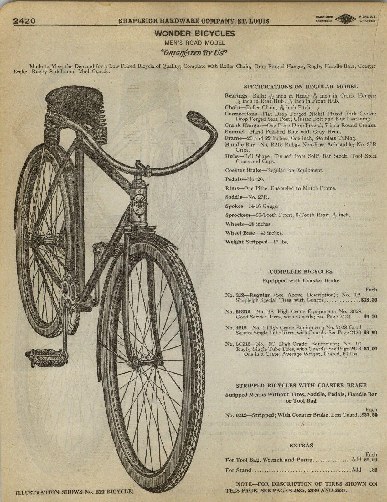 1923 Paper AD 8 PG Wonder Bicycle Bike Road Model