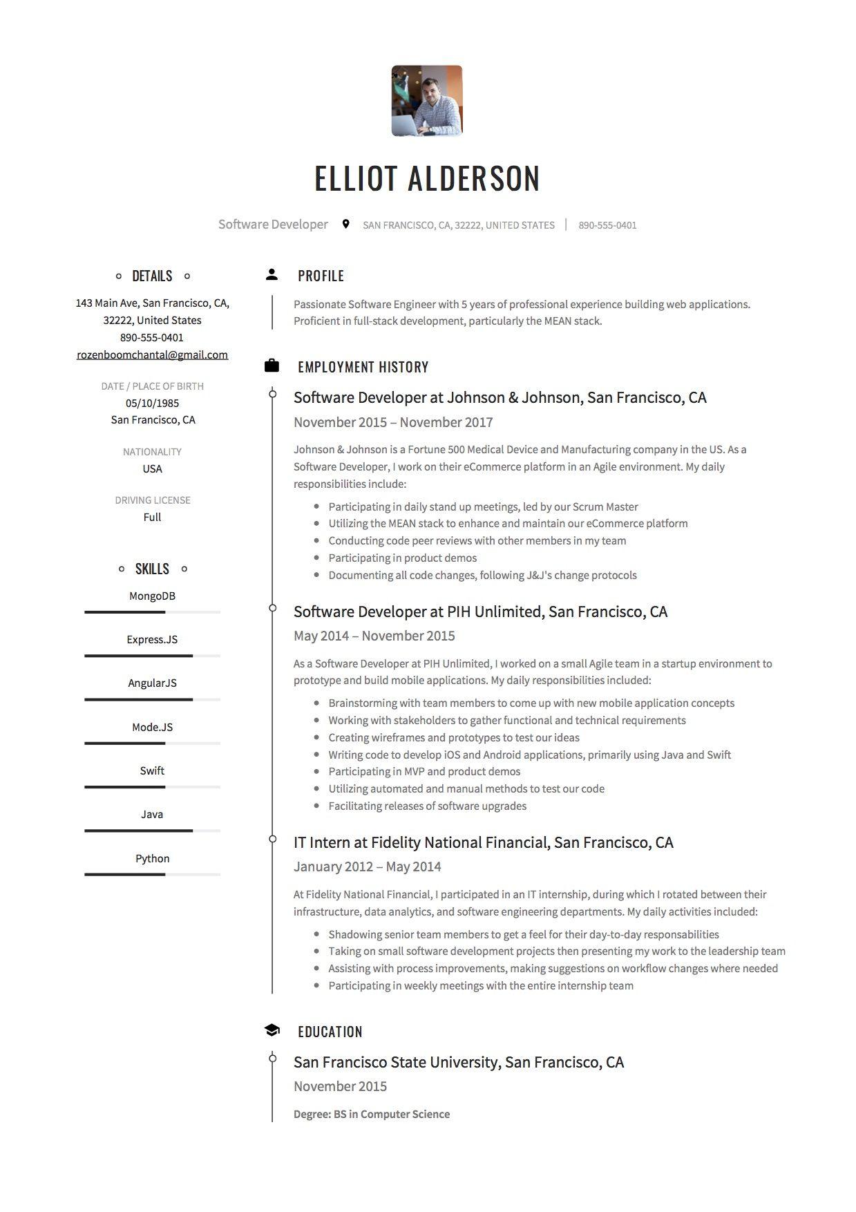 Software Developer Resume Sample Example Template Full Stack Developer Resume Objective Software Engineer