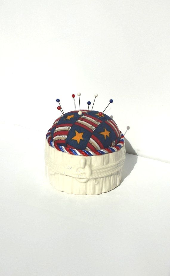 Pincushion Patriotic Pincushion Handmade by Donellensvintage