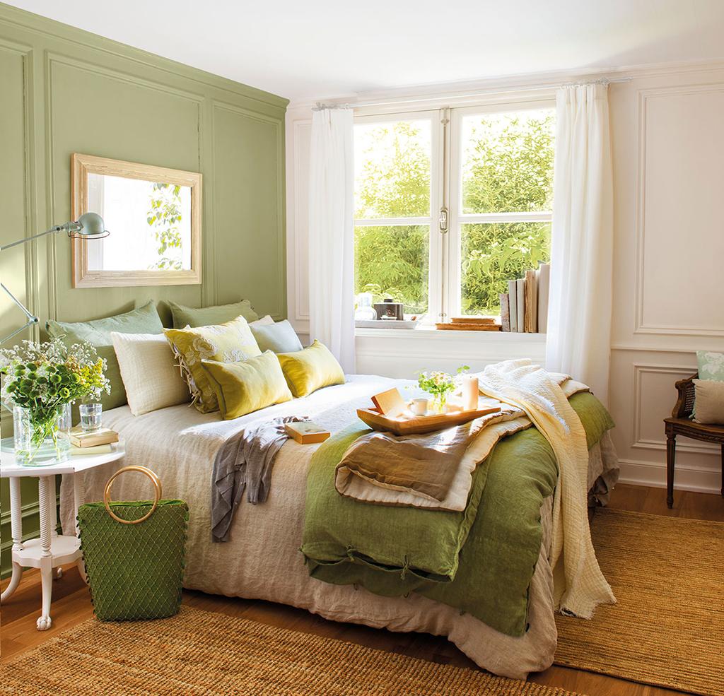 мой дизайн спальни в зеленых коричнево белых тонах фото после снятия ограничений