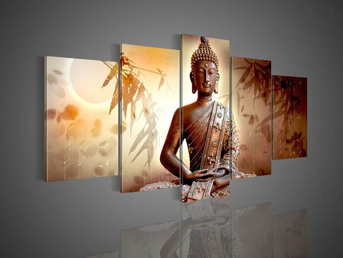 Buddha Wall Decor 5 pcs ! framed ! free shipping ! large wall decor art hand-painted