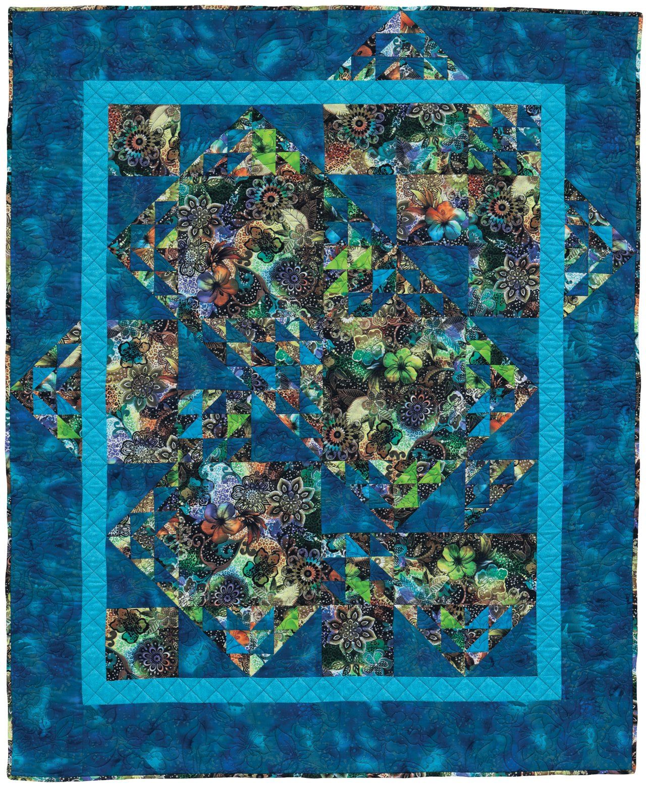 Half square triangle quilt design for big-print fabrics by Sandy ... : quilt patterns for big prints - Adamdwight.com