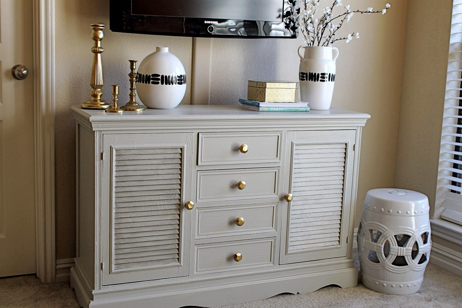 Honey haven entertainment center makeover grey painted