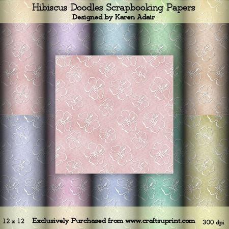 Hibiscus Doodles Scrapbooking Paper Set on Craftsuprint - Add To Basket!