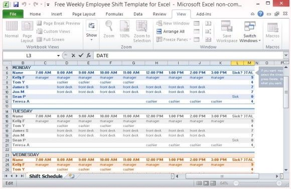 Multiple Employee Work Schedule Template  Work