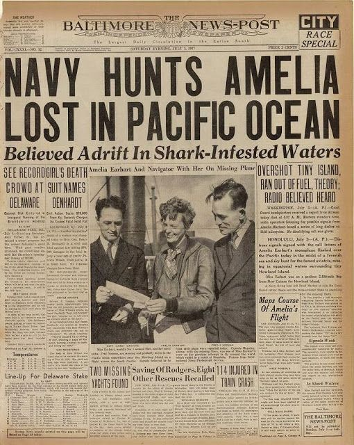 28 Newspaper Headlines From The Past That Document History S Most Important Moments Newspaper Headlines Amelia Earhart Historical Newspaper
