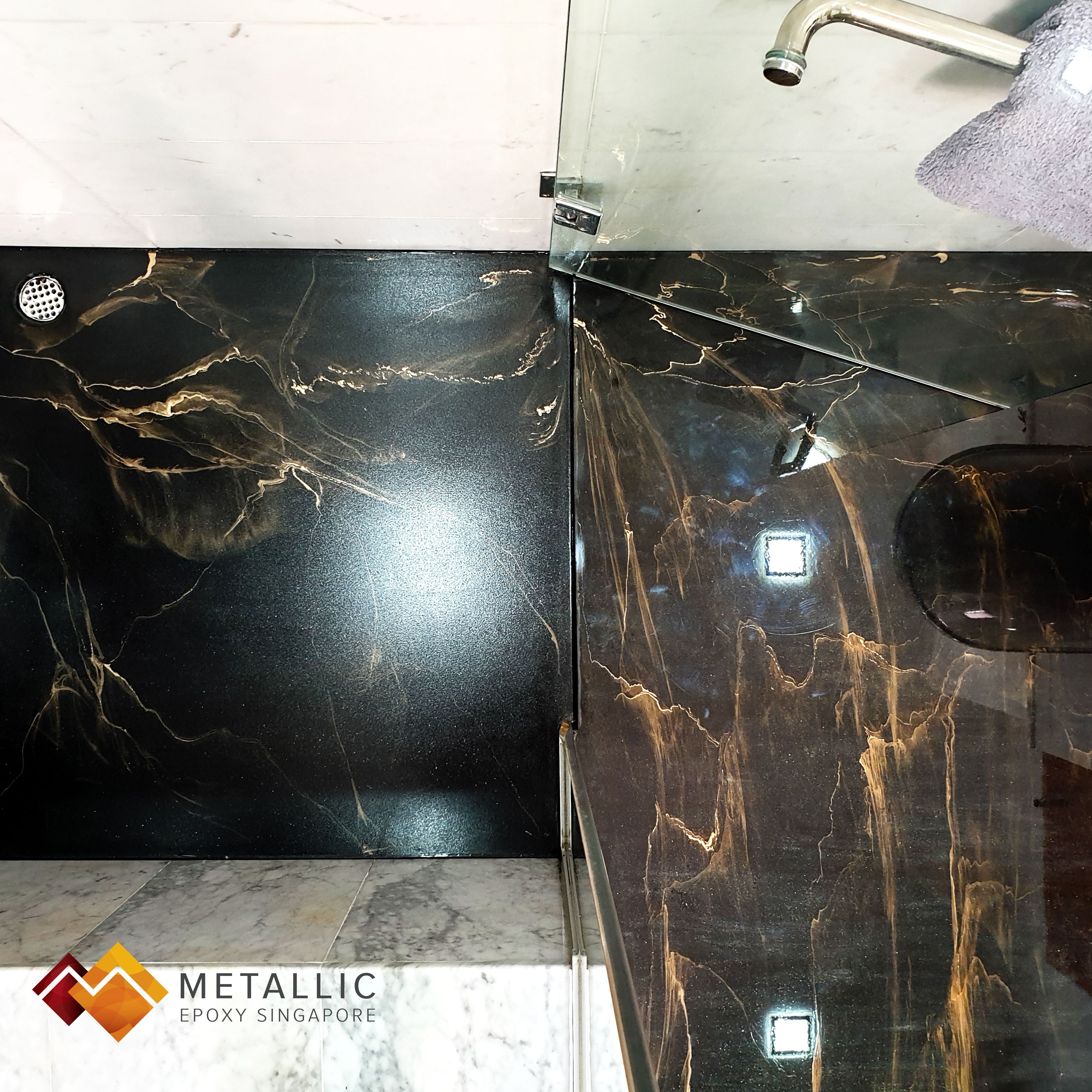 Gold Veins With Subtle Smokey Streaks On A Pure Black Base A