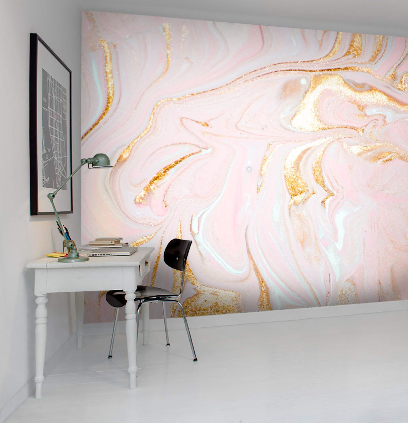 Geometric Pink Marble Removable Wallpaper Custom Printed Etsy Removable Wallpaper Pink Marble Wall Wallpaper