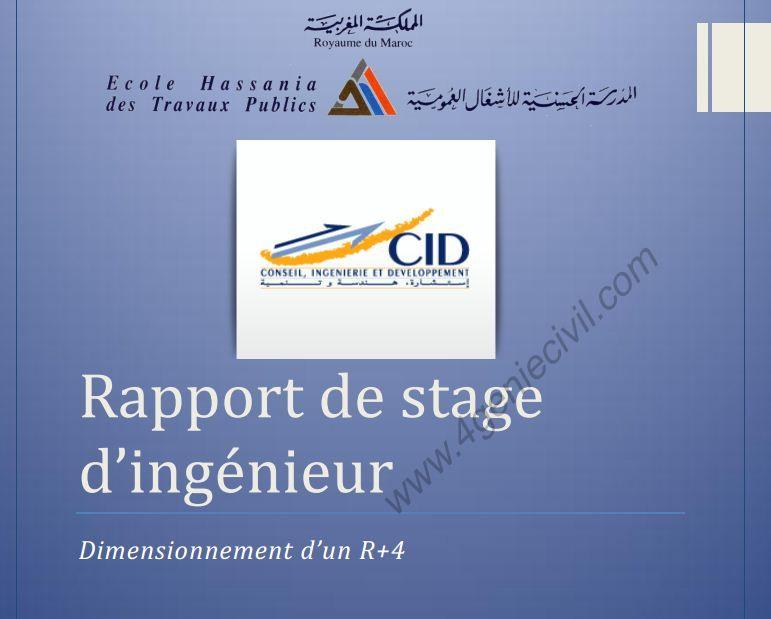 dimensionnement r 4 rapport de stage ing u00e9nieur hassania chez cid