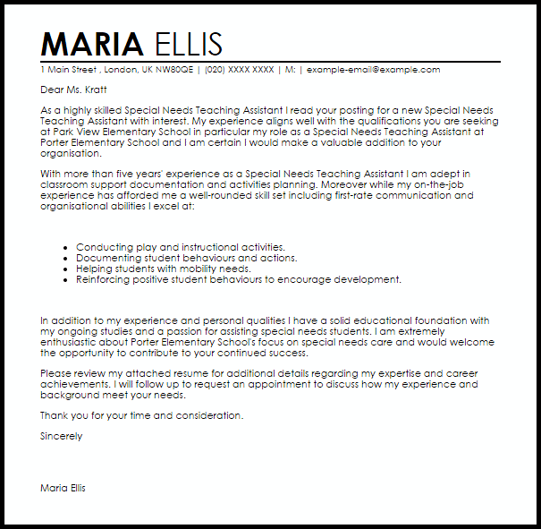 special needs teaching assistant cover letter sample