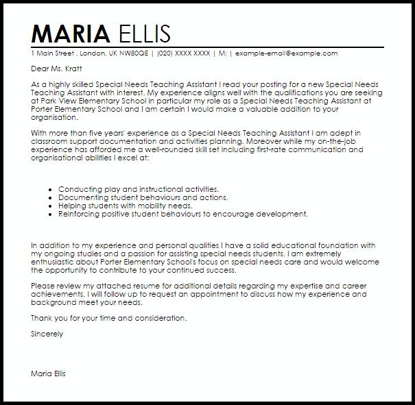 Letter Samples Teacher Assistant Sample Resume Cover Teaching