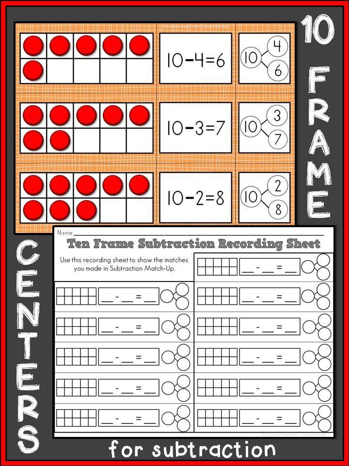 Subtraction Match-Up: A Ten Frame Math Center   Kindergarten ...