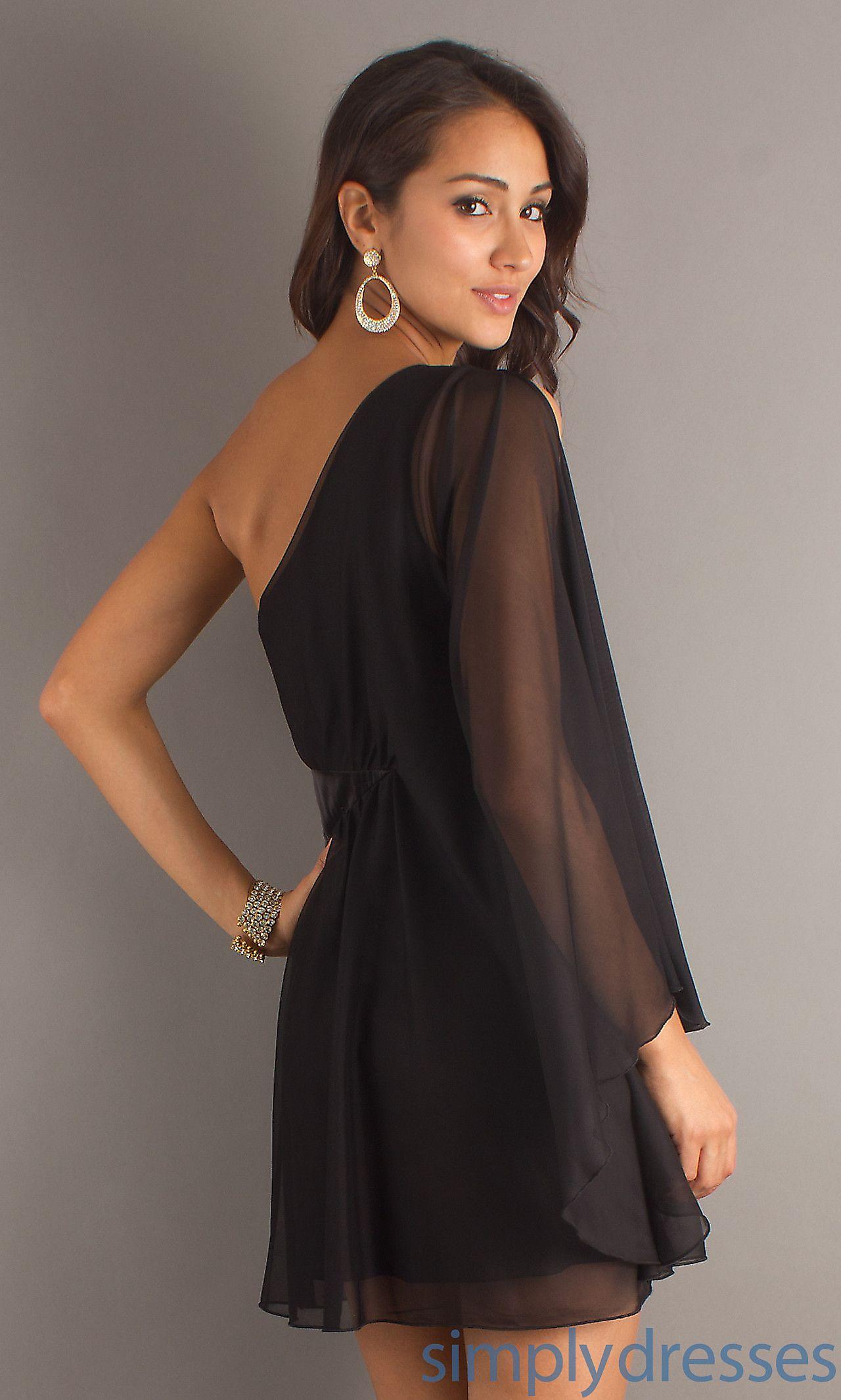 Short Black Dress With One Long Sheer Sleeve Party Dress Long Sleeve Long Sleeve Prom Dress Short Black Homecoming Dress [ 2132 x 1280 Pixel ]