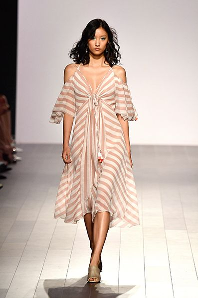 3d354136574b5 Tadashi Shoji ROSE QUARTZ STRIPE PRINT CHIFFON COLD SHOULDER DRESS ...