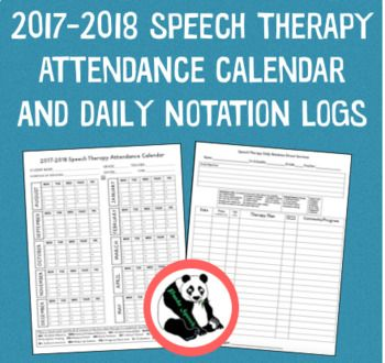 Speech Therapy Attendance Calendar And Daily Notation LogsUpdated