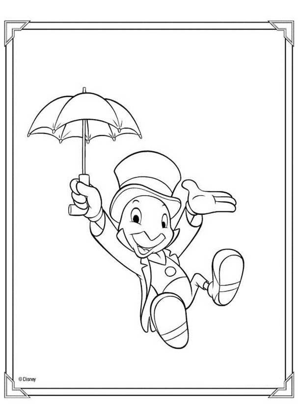 Pinocchio coloring pages - Jiminy cricket | ❤ ✽ ❤ Ð I S N E Ұ̀ ...