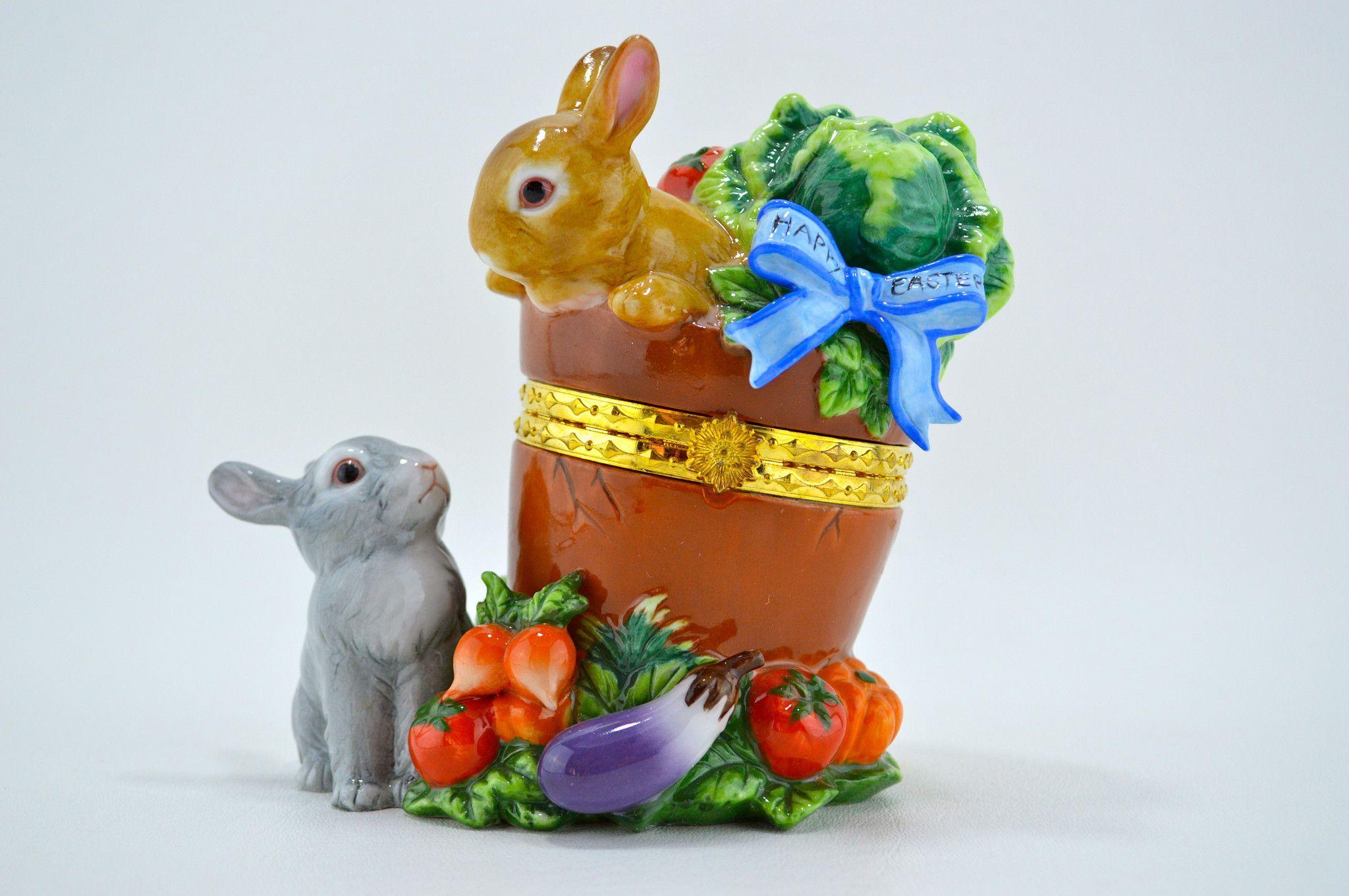 Porcelain hinged easter trinket box rabbits in garden vintage porcelain hinged easter trinket box rabbits in garden negle Gallery