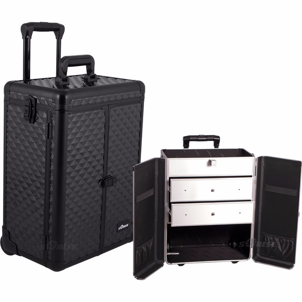Suitcase With Drawers Makeup Storage Box Train Make Up Cosmetic Luggage Organizer