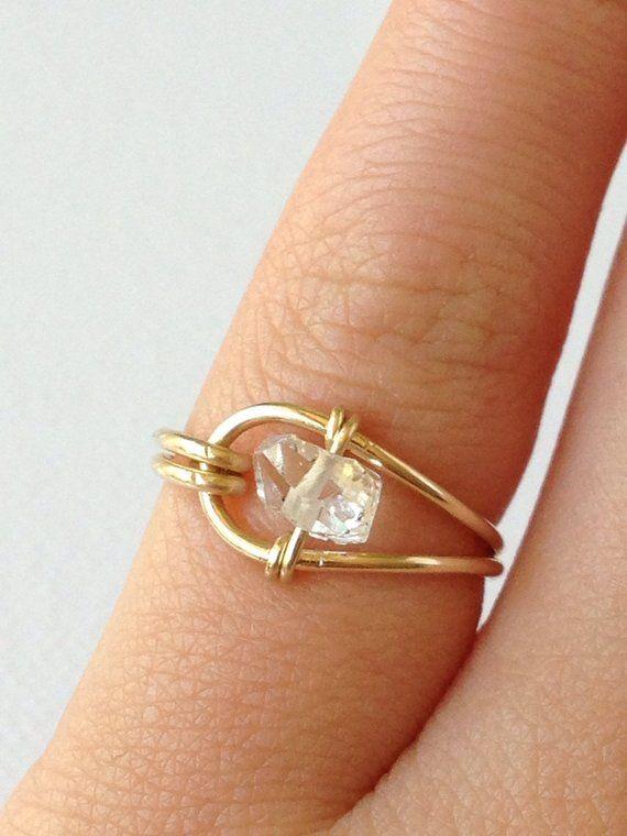 Photo of Customised Herkimer Diamond On 9K Yellow Gold 14k Gold Fill   Etsy