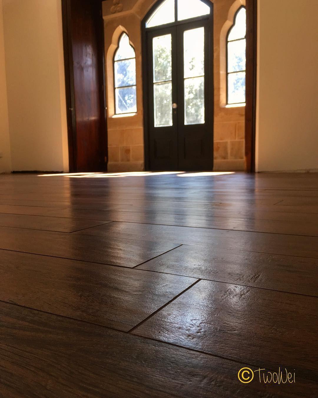 Stunning floor using the wooden effect floor tiles from