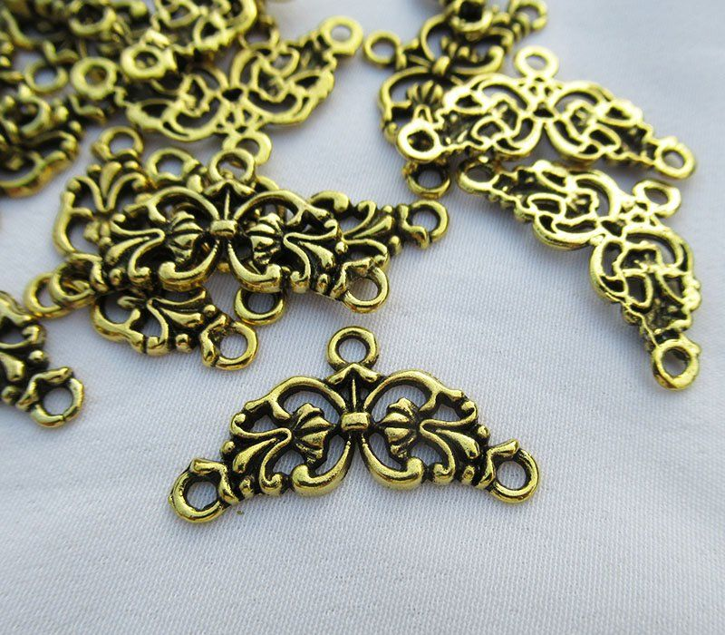 15pcs Vintage Bronze Brass Hollow Flowers Pendant Charms Jewelry DIY Accessories