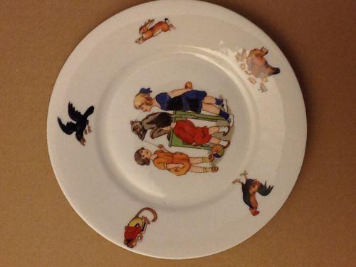 Vintage 1930 S Og Germany Childs China Plate 7 White Multicolor Transferware Ebay Transferware China Plates Plates