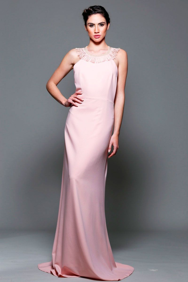 Vestido largo de fiesta rosa palo con escote en la espalda para boda  graduacion evento de primavera verano en apparentia collection c9674d08c047