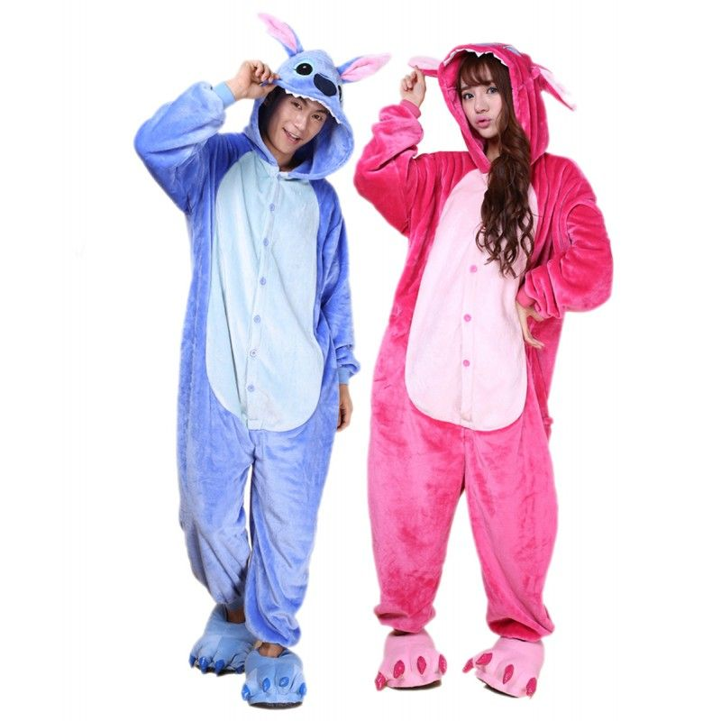 b7ea217193 Unisex Blue Stitch Kigurumi Onesie Pajamas Animal Costumes For Women   Men