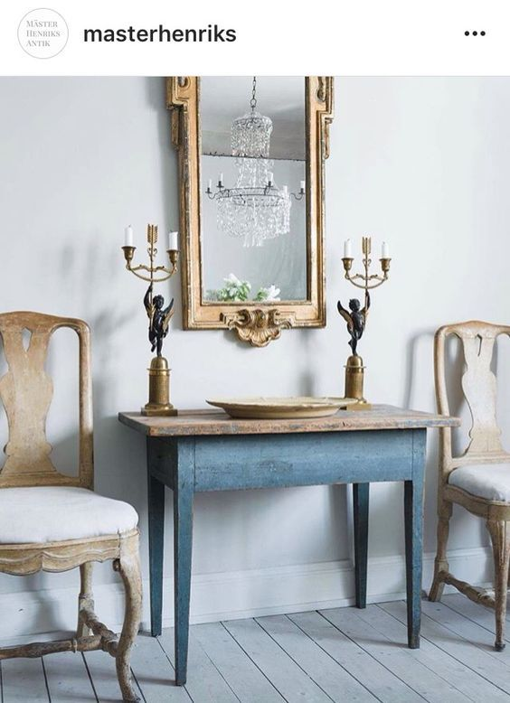 Beautiful Swedish chairs flanking antique Swedish table - found on Hello  Lovely Studio - Provence Villa Tour: Elegant French Country Stôl Pinterest