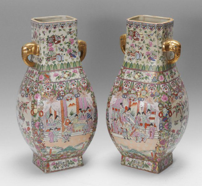 PAIR CHINESE FAMILLE ROSE URN VASES : Lot 1056