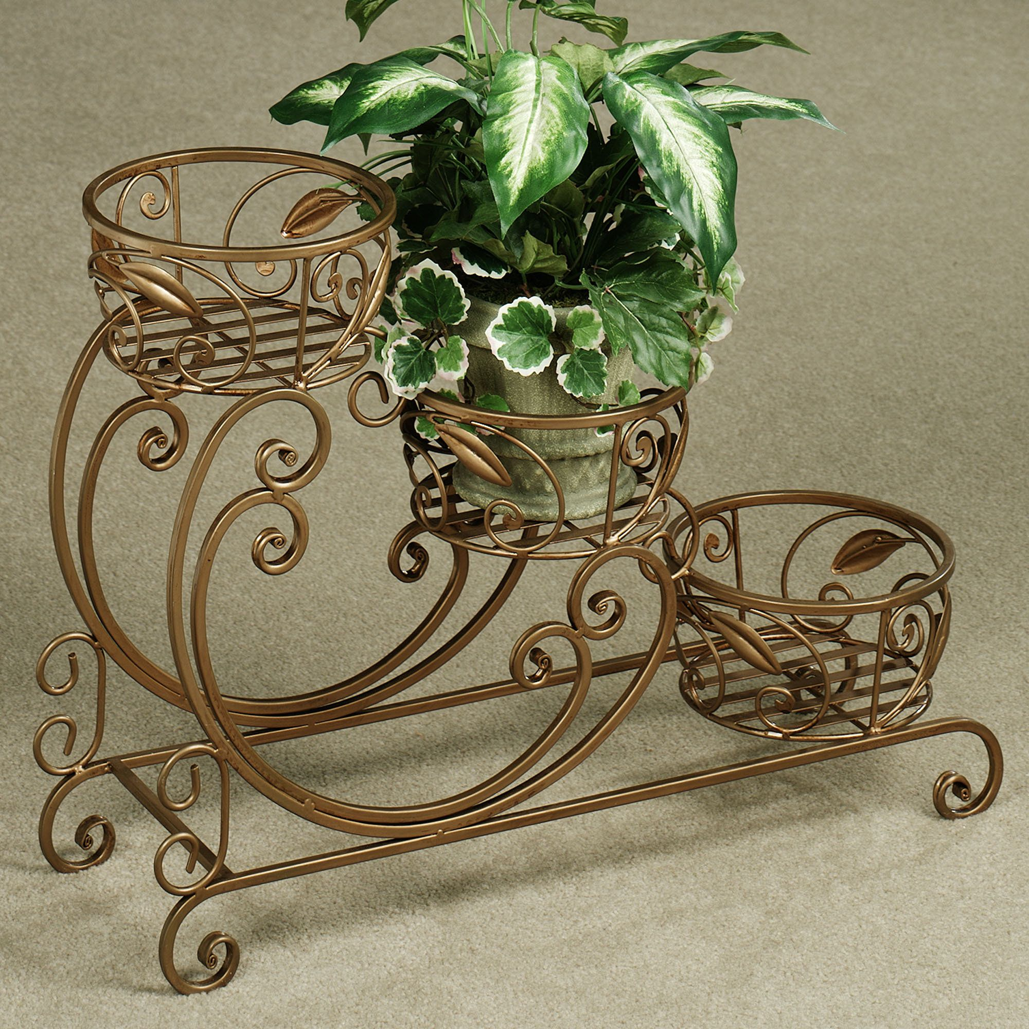 Tiered Contemporary Urban Garden: Amberly 3 Tier Metal Plant Stand