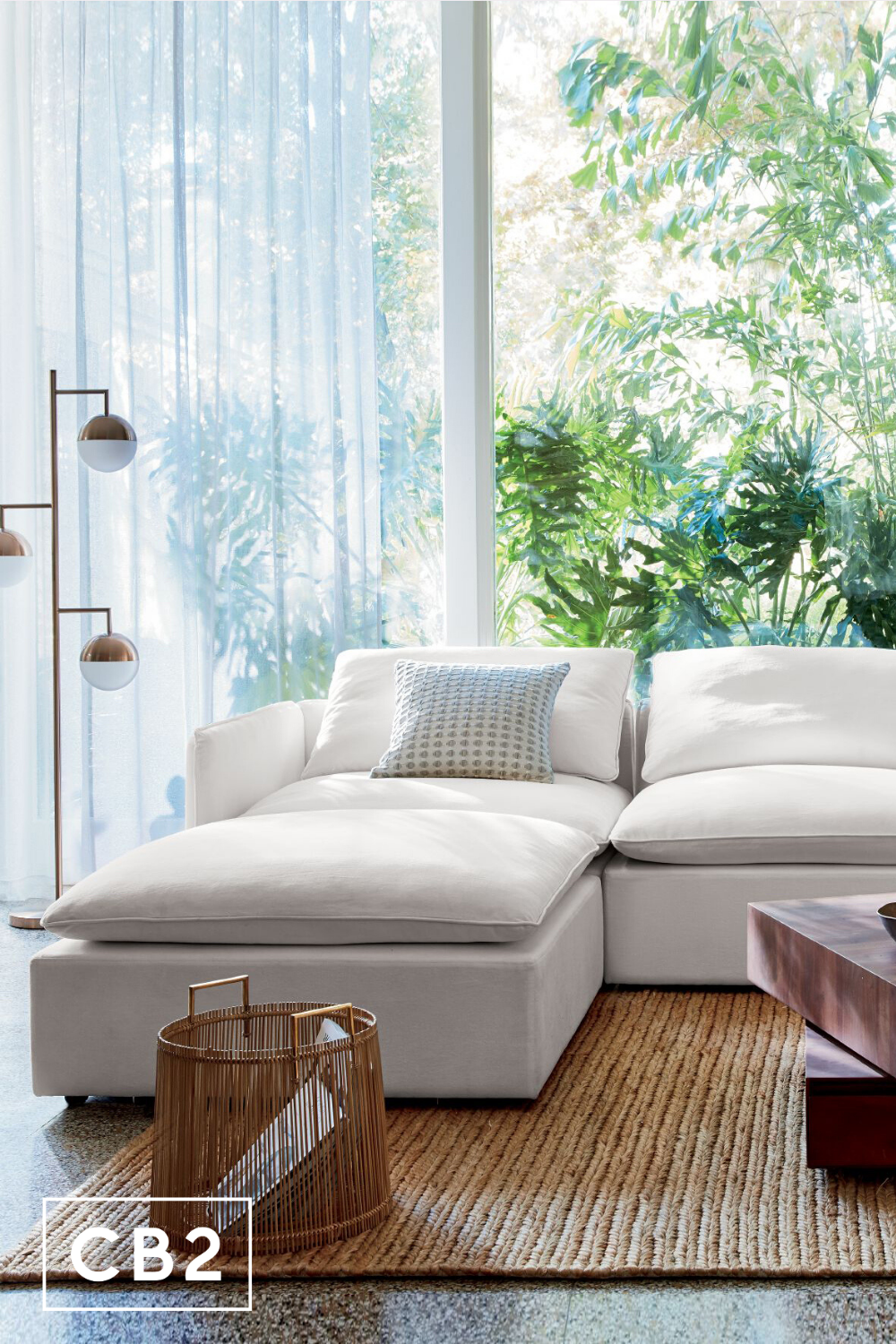 lumin white linen 4 piece sectional
