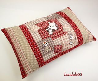 very cute patchwork pillows with animal appliqués