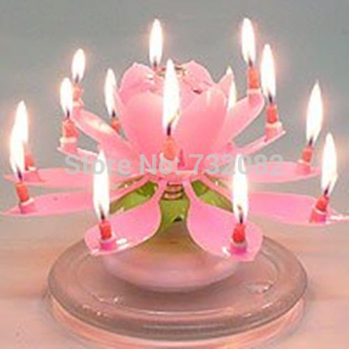 Spinning Lotus Musical Birthday Candle Flower Sparkler Cake