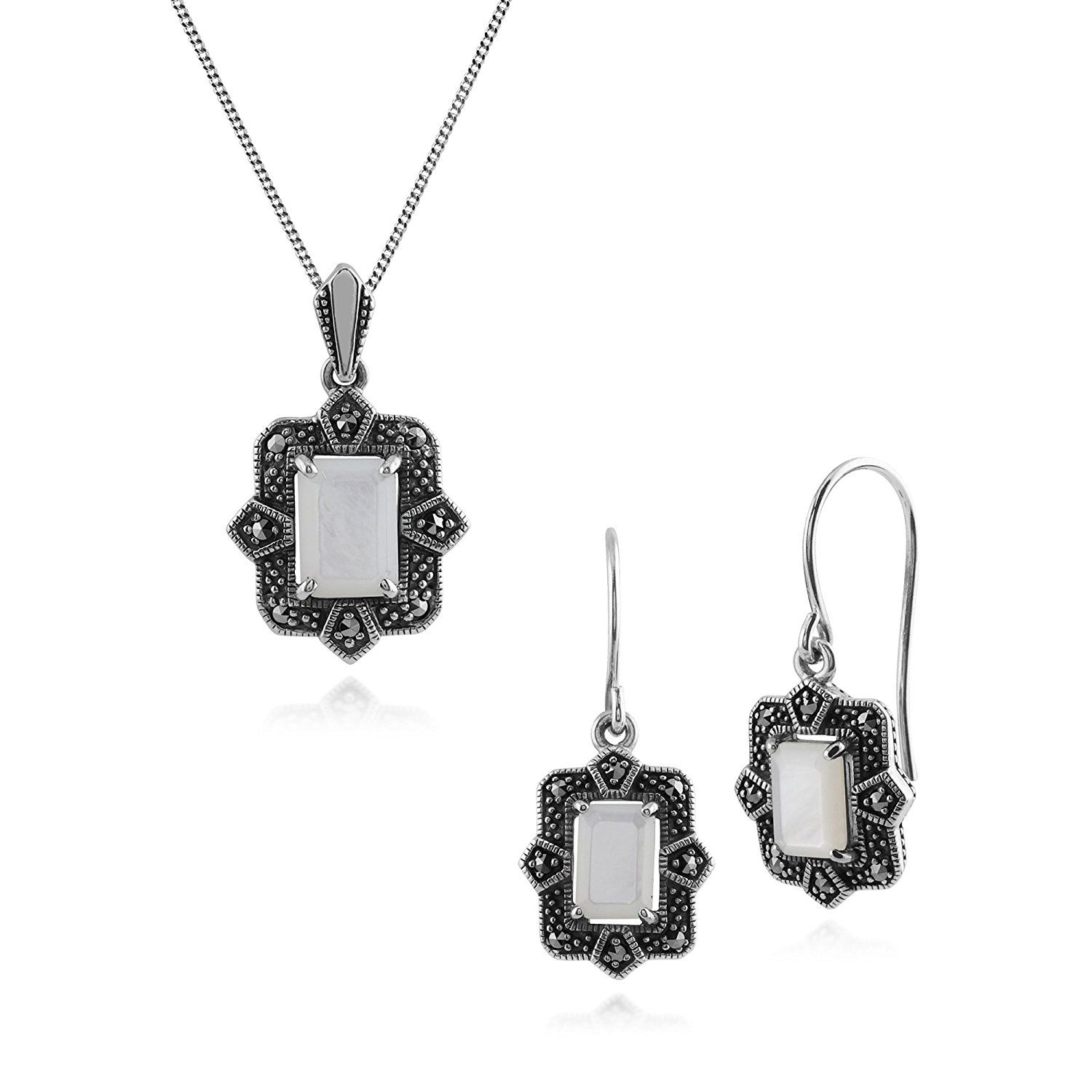 Gemondo Sterling Silver Art Deco Emerald & Marcasite Stud Earring and 45cm Necklace Set JrjeOOw