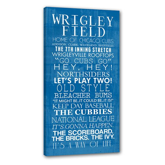 Chicago Cubs Bus Roll Baseball Wall Art Home Decor Sports Inch STOCK  Typography Canvas