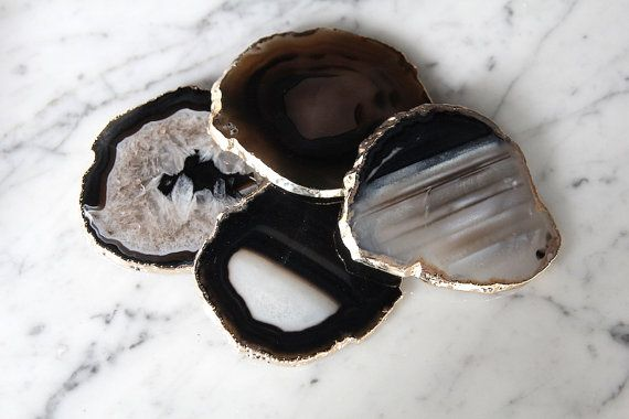 Set of 2 Black /& gold platted Agate Stone slice coaster