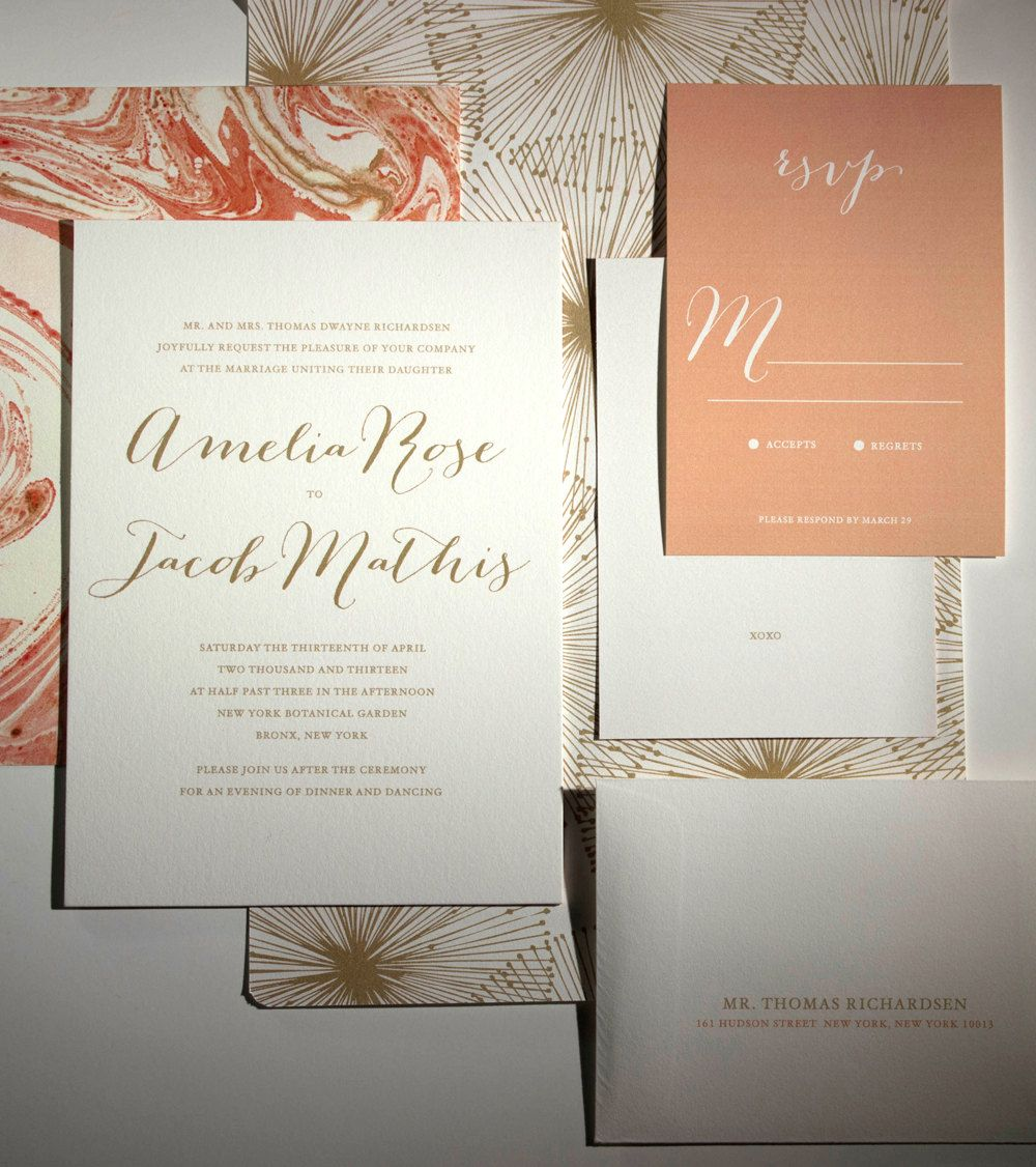 Gold Calligraphy Wedding Invitation Coral Peach Marbled Paper. $7.14, Via  Etsy.