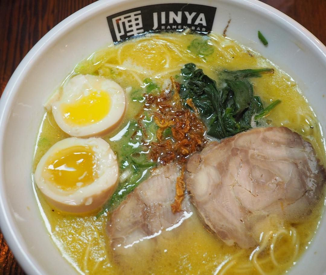 JINYA Chicken Ramen @jinya_yyc FTW.  Love that rich chicken broth with chicken chashu spinach green onion fried onion and perfectly cooked thin noodles #jinyaramenbar #jinyaramen #ramenlove