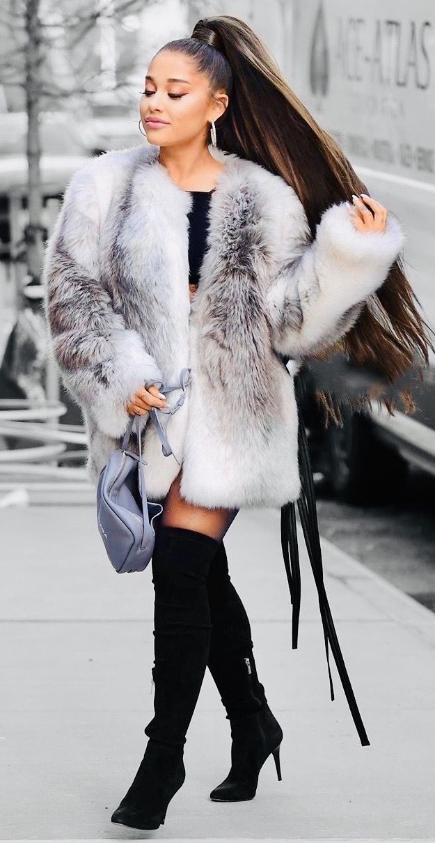 Photo of Fur Coat, Over The Knee Boots & A Long Luscious Ponytail 🖤