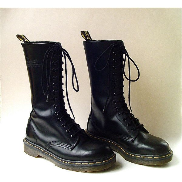 e9200d7be515 vintage Doc Martens Air Wair Tall Black Leather Combat Boots Made in...  ( 165) ❤ liked on Polyvore featuring shoes