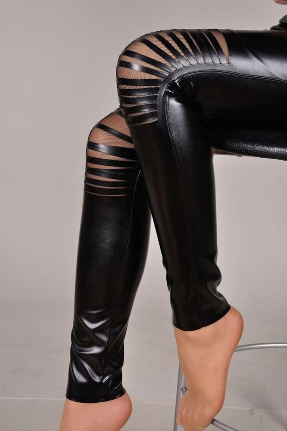 Liquid Leggings, Wet Look Leggings, Riss Leggings