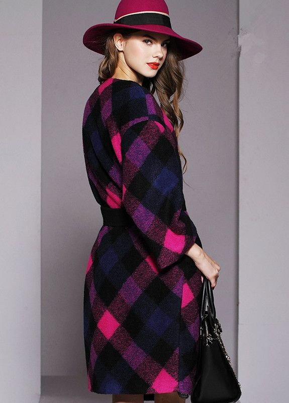 Tartan Design Spring Autumn Women Long Wool Jacket With Sash Plaid Female Contrast Color Thick Coat