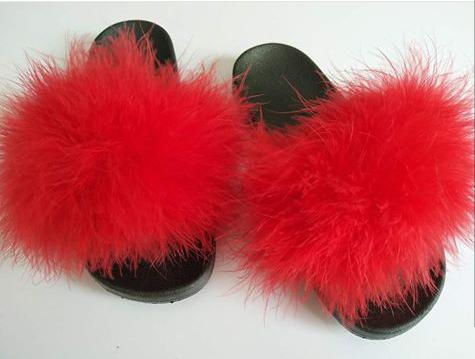 Red faux fur slides   Fur slides, Red