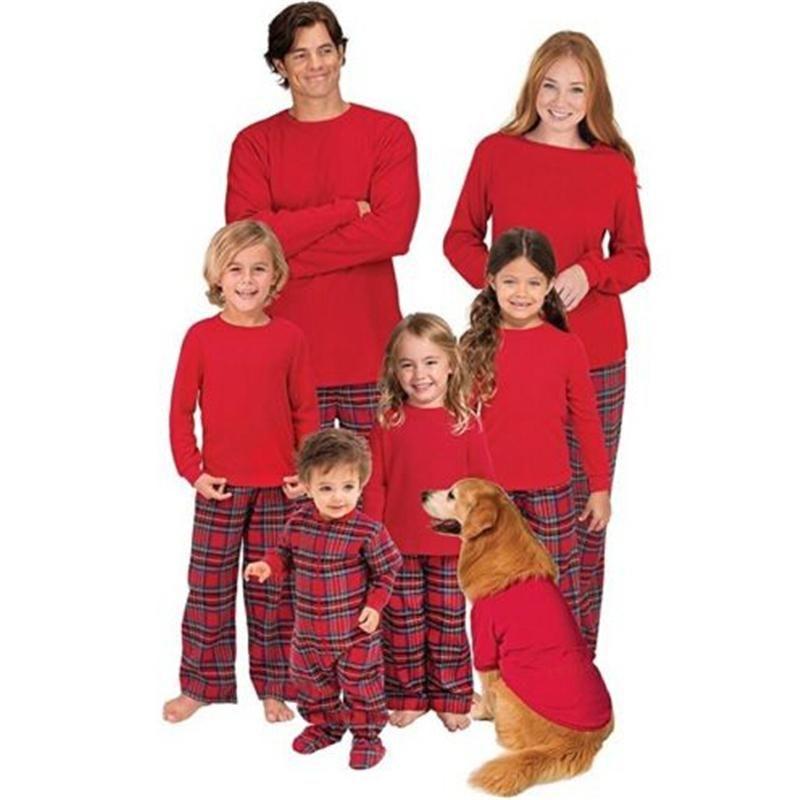 30e6736aa4 Family Matching Pajamas Set Christmas Mom Father Kid Baby Sleepwear  Nightwear