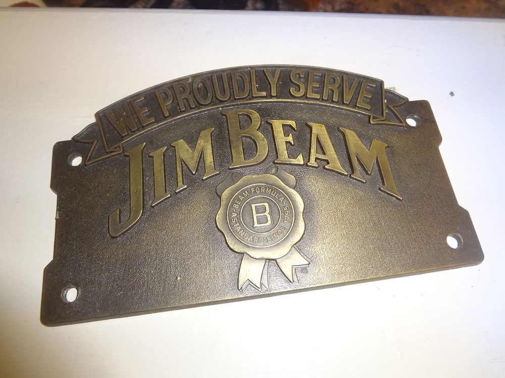 Man Caves Jim Beam : Jim beam brass metal new wall plaque sign bar decor man cave