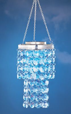 Lighted Solar Crystal Chandelier Dangler From Collections Etc Patio Lamp Acrylic Chandelier Chandelier