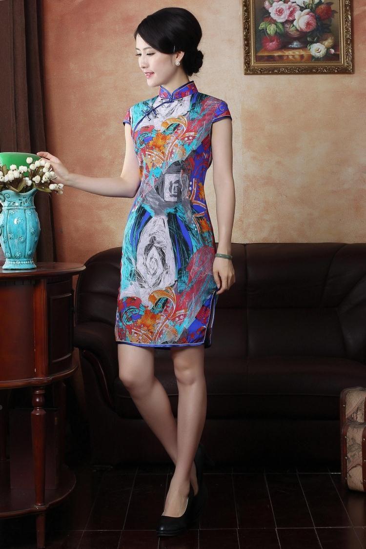 Silk Fashion classic  Short dress.