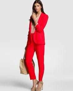 Trajes de chaqueta rojos mujer